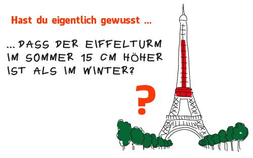 ... dass  der  Eiffelturm im  Sommer  15  cm höher ist  als  im  Winter?